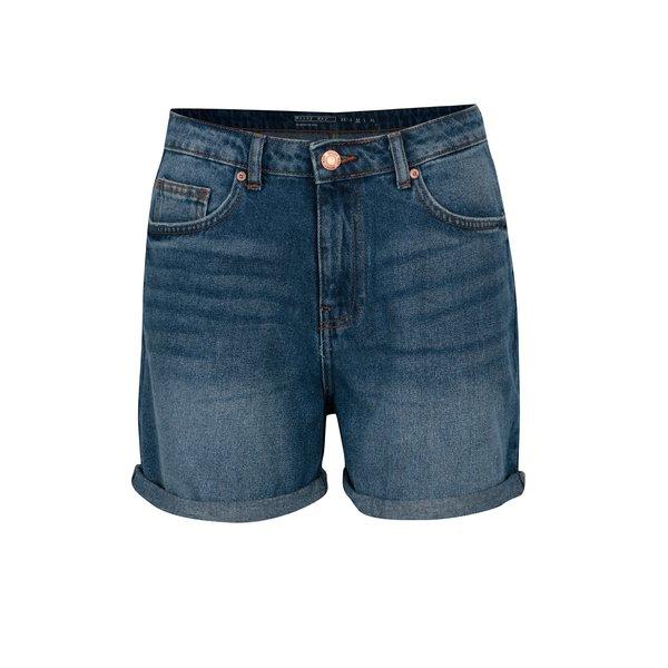 Pantaloni scurti albastri cu talie inalta cu aspect prespalat si terminatie rasucita Noisy May Be LIv