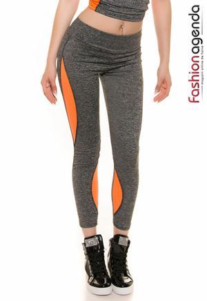 Colanti fitness de culoarea gri cu model portocaliu Rayden Orange