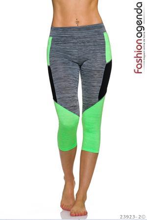 Colanti sport 3/4 de culoarea gri cu motiv verde neon Work Out 05 Green