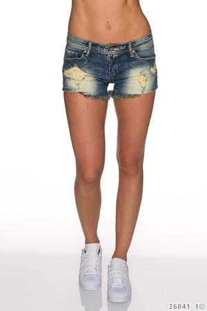 Jeans Scurti cu aspect uzat Shaded