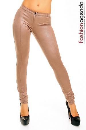 Pantaloni lungi de culoarea bej stralucitor Sparkle