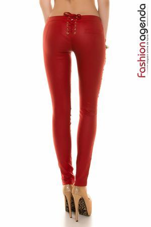 Pantaloni lungi cu tinte de culoarea rosie Delbert