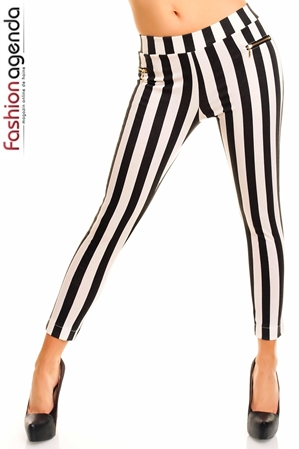 Pantaloni lungi in dungi alb negru- Domino