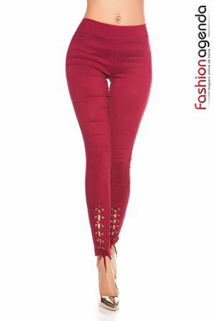 Pantaloni bordo cu model insiretat in partea inferioara Low Laces