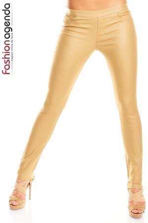 Pantaloni lungi aurii realizati din material lucios Mason Gold