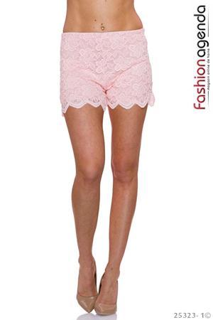 Pantaloni Scurti cu aplicatii din dantela de calitate Riolla Pink