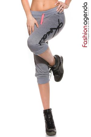 Pantaloni Sport Intensity cu buzunare si model imprimat pe lateral Grey