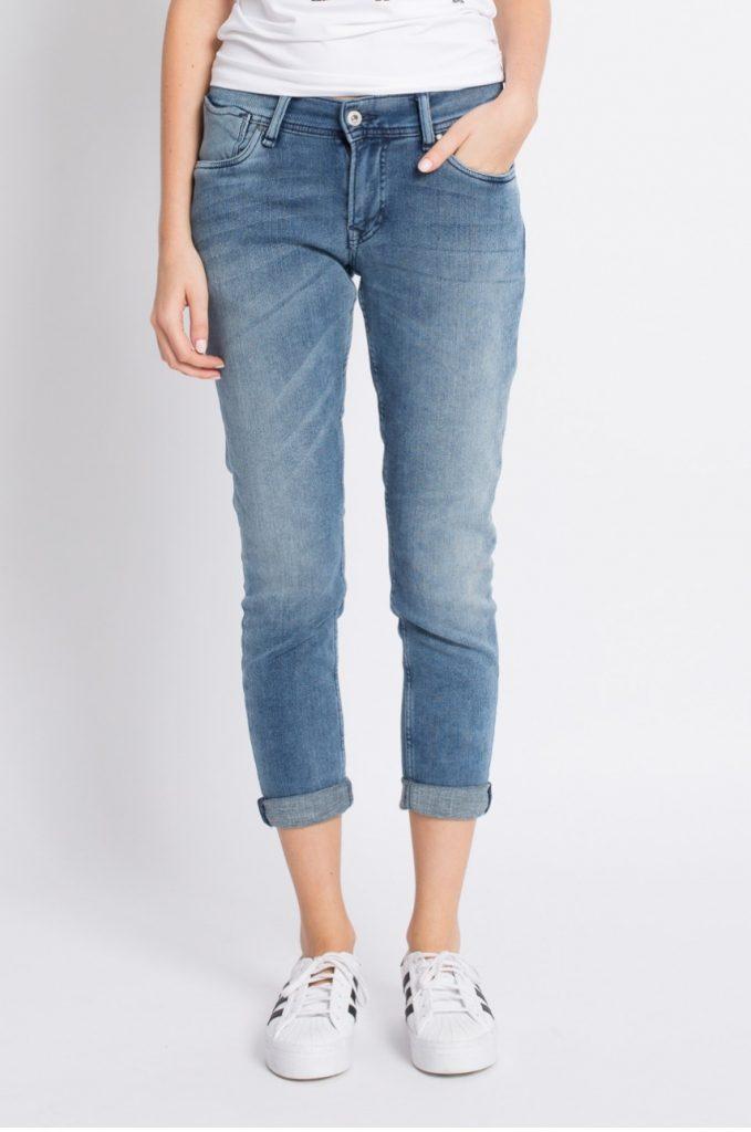 Blugi boyfriend Pepe Jeans pentru femei realizati din denim spalacit decorativ