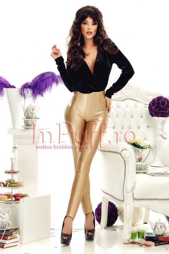 Pantaloni aurii din piele ecologica cu Talie inalta Vatuiti pe interior Atmosphere