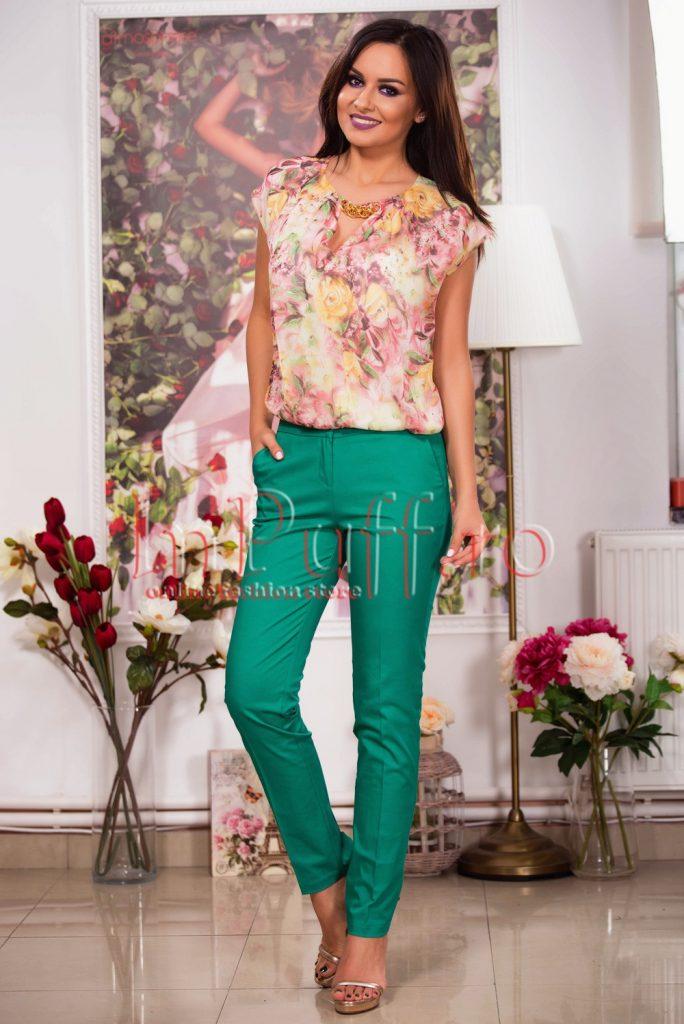 Pantaloni vernil din tercot elastic cu talie medie si croi conic Hermosa