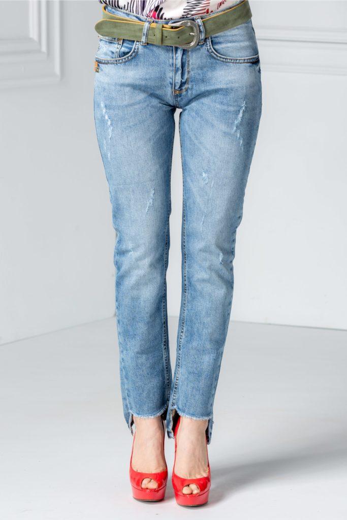 Jeans dama albastri casual in stil boyfriend cu curea in talie Diana