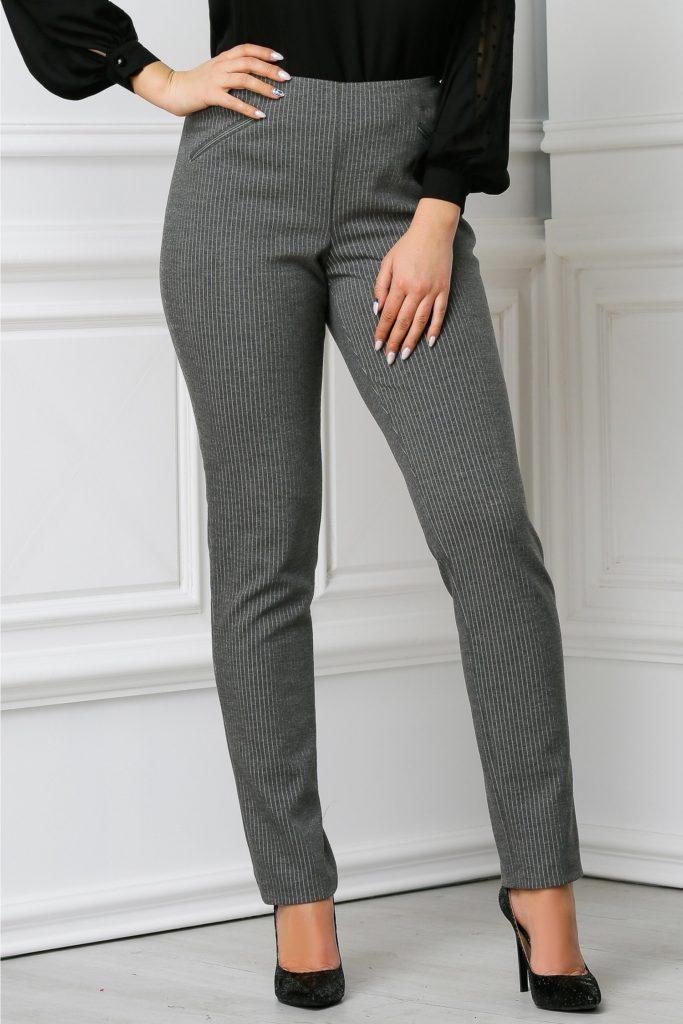 Pantaloni gri office foarte comozi si usor de asortat in dungi elegante si discrete Amanda