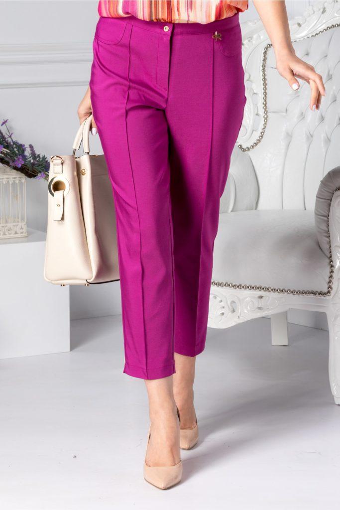 Pantaloni mov office cu aspect conic si buzunare false cu insertie tip fundita pe talie Dalida
