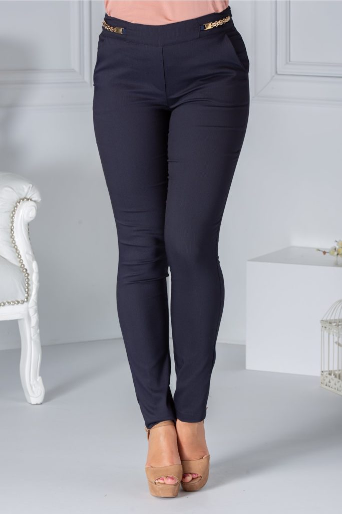 Pantaloni bleumarin conici cu talie medie cu aplicatii aurii pentru un look elegant si inedit la birou Fofy