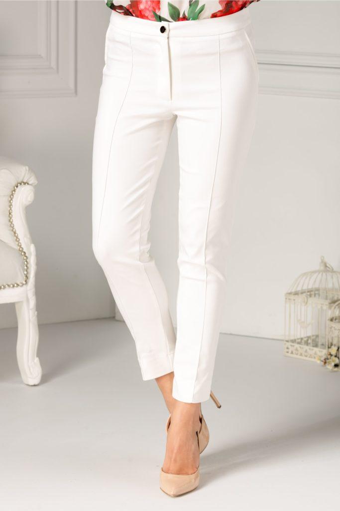 Pantaloni albi office cu croiala eleganta ce se muleaza pe corp si iti pun in evidenta silueta LaDonna