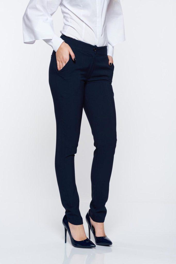 Pantaloni LaDonna albastri inchis office conici cu talie medie din material usor elastic