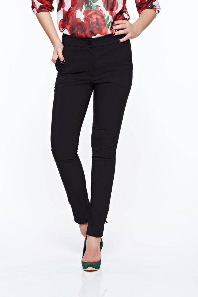 Pantaloni office conici negri confecționați din material elastic de nuanță monocromatică mulati armonios pe corp LaDonna