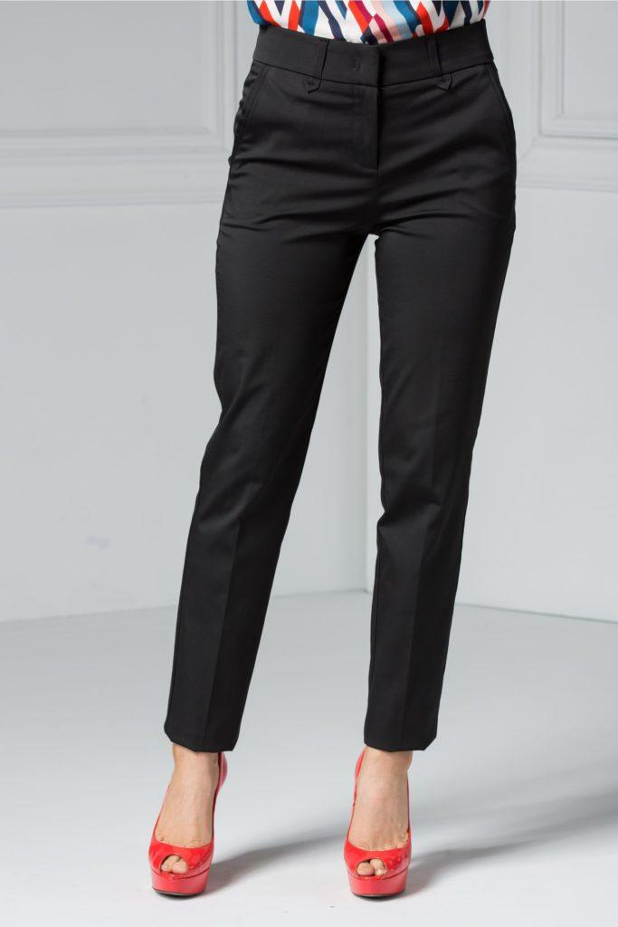 Pantaloni negri office ce iti subliniaza silueta cu buzunare discrete ce se inchid cu cleme ascunse Ofelia