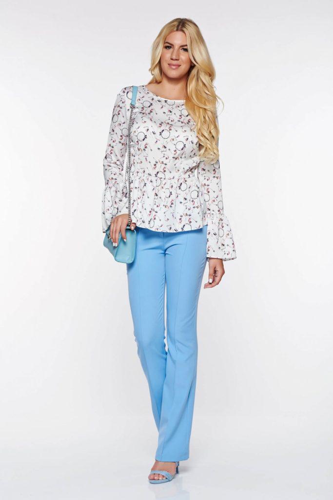 Pantaloni PrettyGirl albastri deschis eleganti confectionati din material fin la atingere si Croi mulat in partea superioara