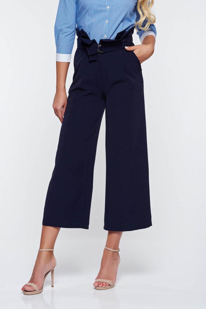 Pantaloni PrettyGirl albastru inchis office universali moderni cu croi drept si lejer cu talie inalta din material de grosime medie
