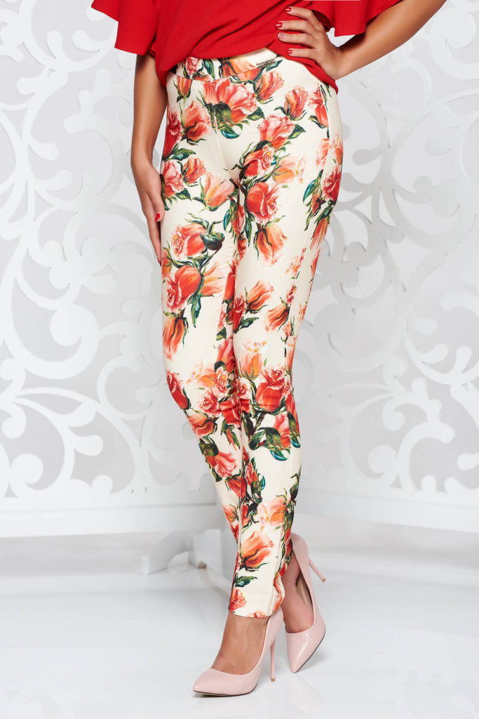 preț atractiv într-adevăr confortabil calitate superioară Pantaloni crem cu imprimeu floral deosebit office universali de dama  confectionati din tesatura delicata PrettyGirl – Pantaloni.talya.ro
