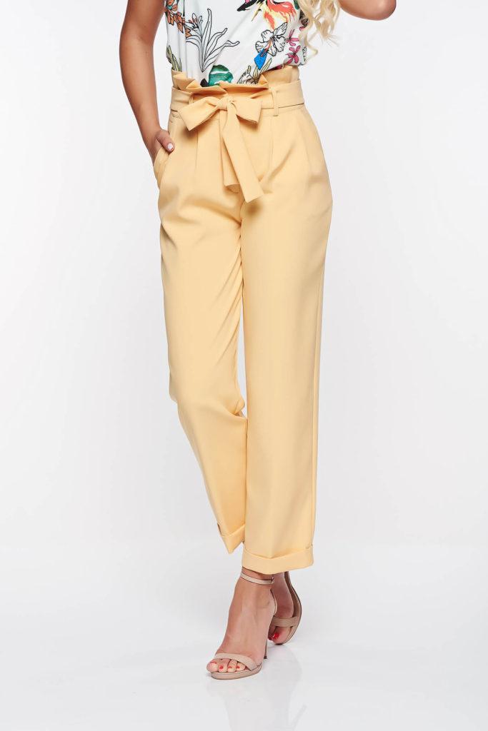 Pantaloni galbeni office cu talie inalta din material de grosime medie cu croi drept PrettyGirl
