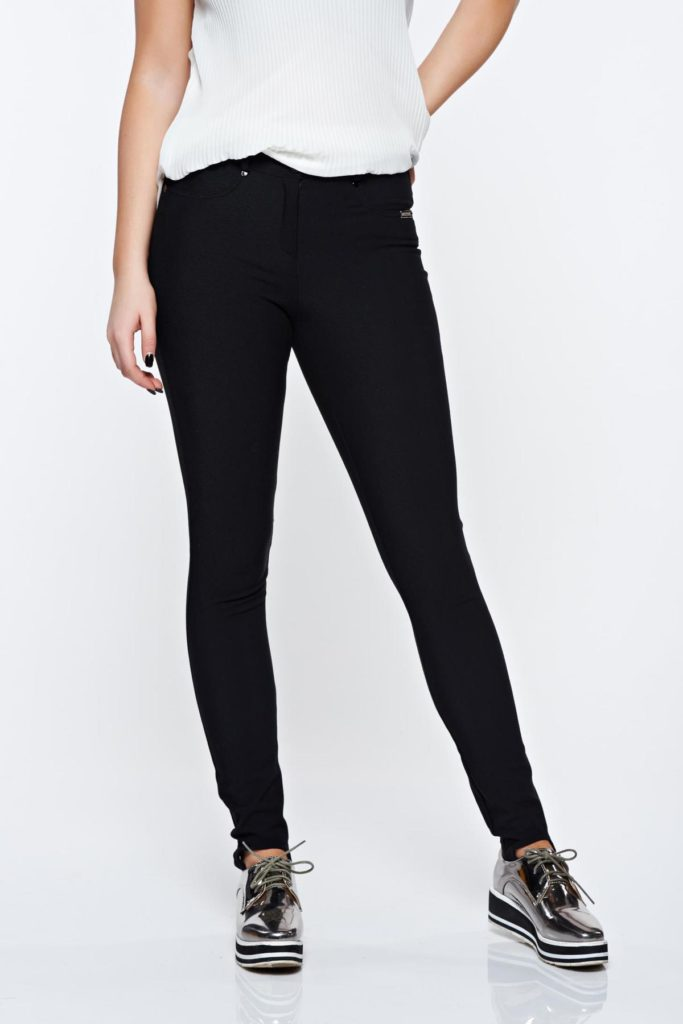 Pantaloni PrettyGirl negri din bumbac elastic potriviti pentru o tinuta casual