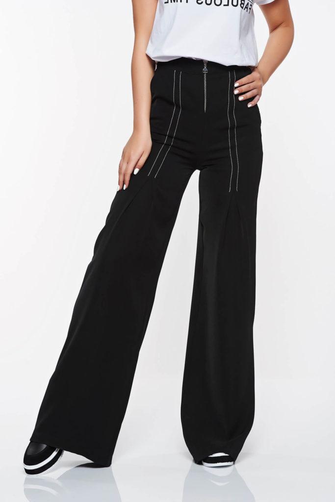 Pantaloni negri eleganti si stilati cu un design deosebit confectionati din stofa fina la atingere PrettyGirl
