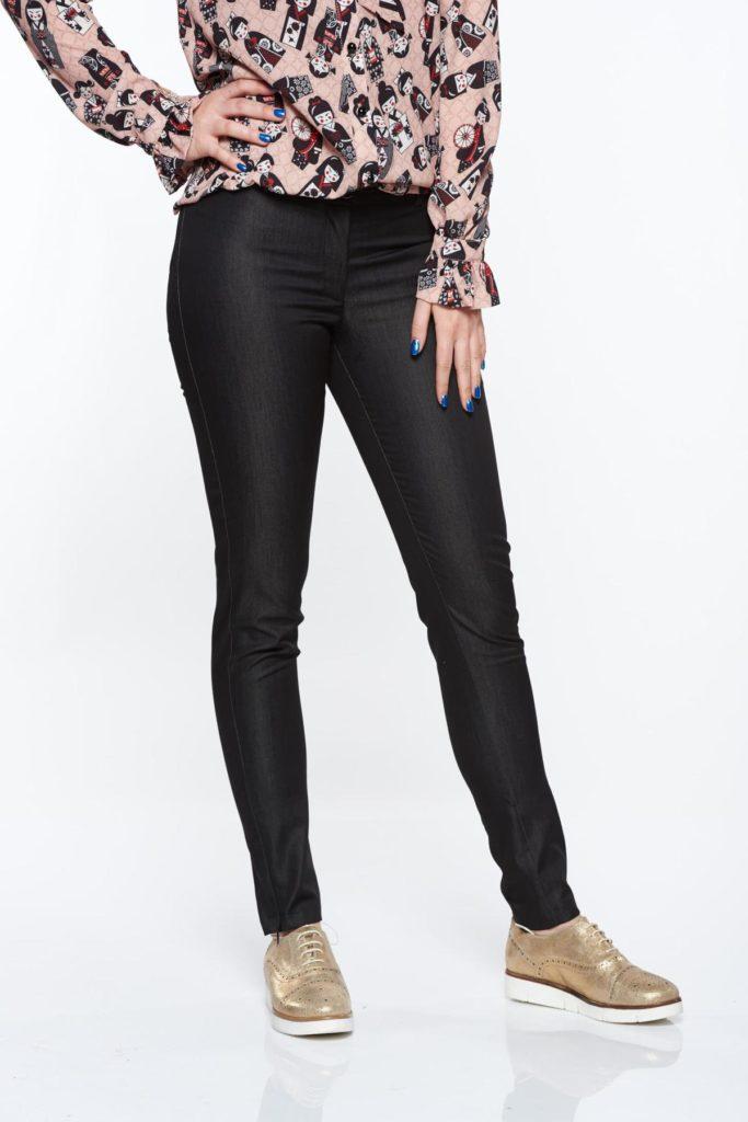 Pantaloni negri clasici de dama confecționați din stofa de bumbac subtire neelastic de inalta calitate PrettyGirl