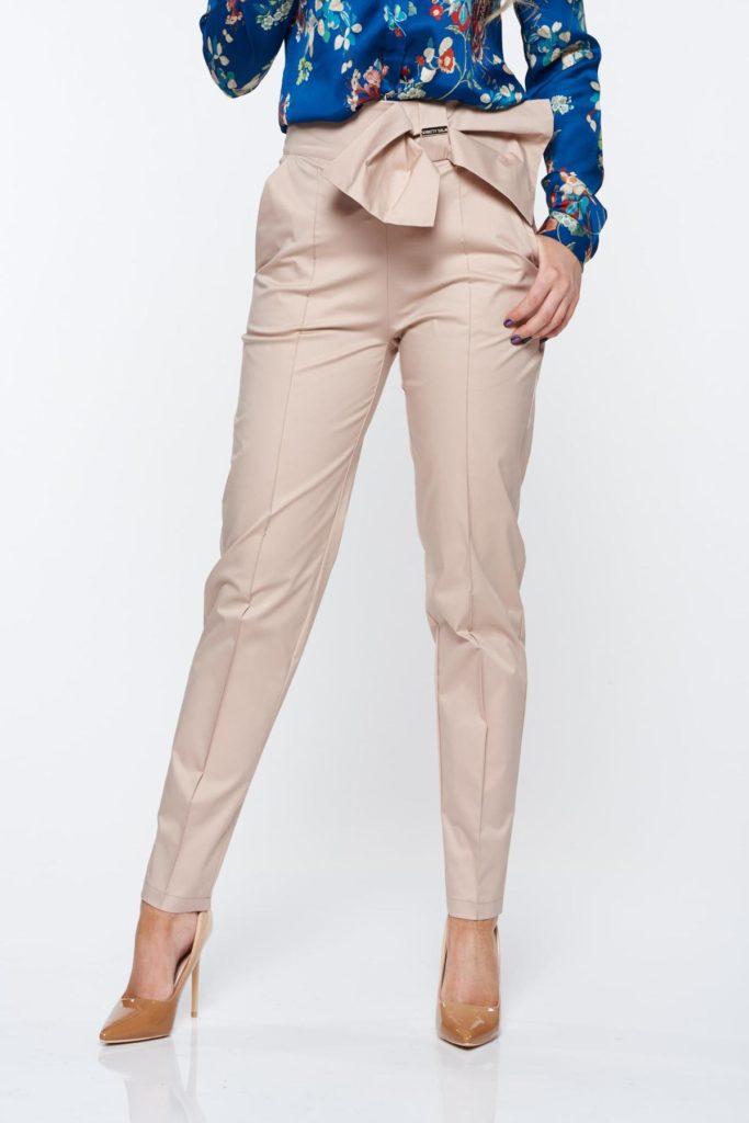 Pantaloni casual lungi de zi PrettyGirl nude office conici din material neelastic cu un cordon si elastic lat