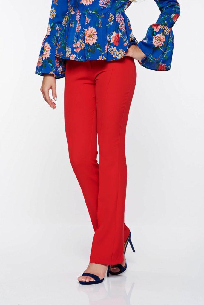 Pantaloni rosii eleganti confectionati din material fin la atingere cu Croi mulat in partea superioara PrettyGirl
