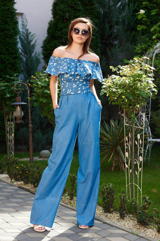 Pantaloni StarShinerS albastri din denim subtire monocromatic