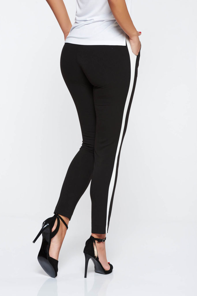 Pantaloni negri eleganti din stofa subtire si usor elastica cu talie medie si croiala conica StarShinerS