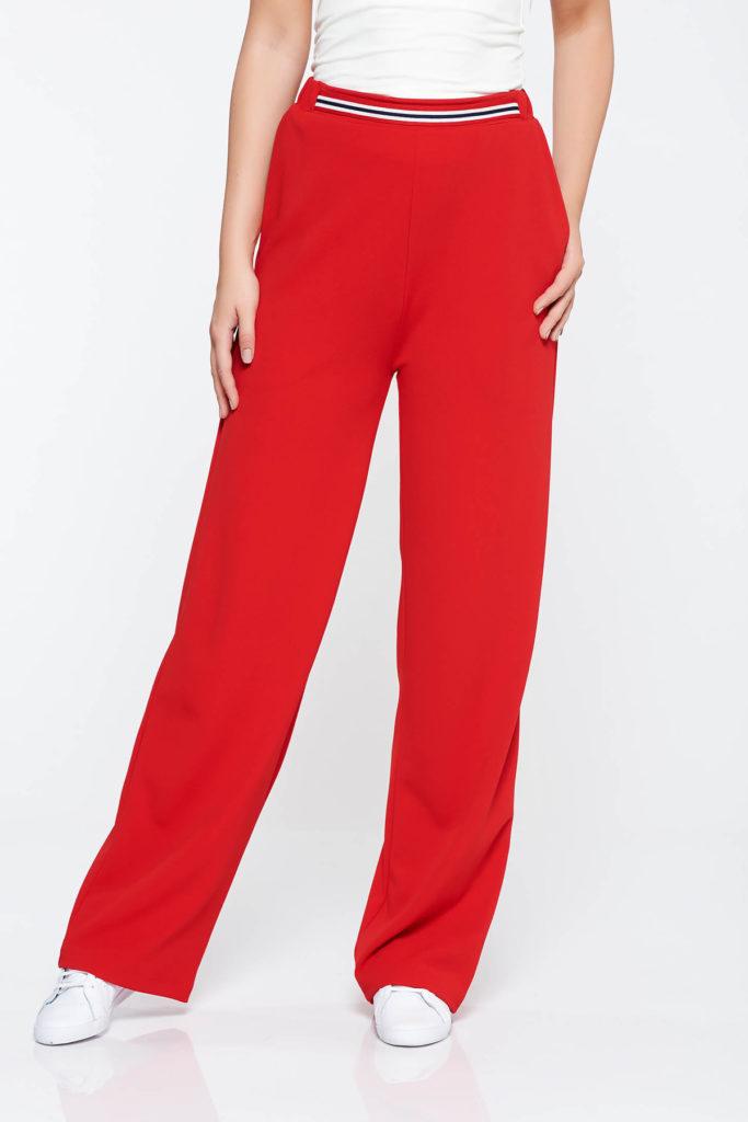 Pantaloni rosii casual cu talie inalta pe elastic decorati cu o banda distincta cu model in dungi in partea din fata StarShinerS