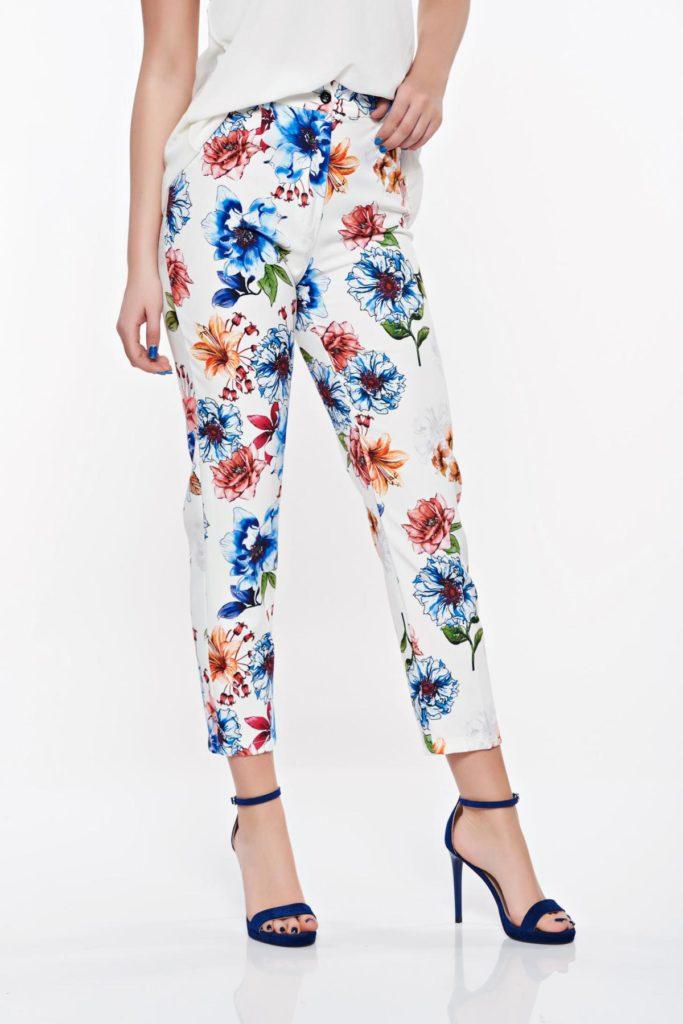Pantaloni versatili si confortabili confecționați din tasatura fina si satinalata la atingere cu imprimeu colorat SunShine