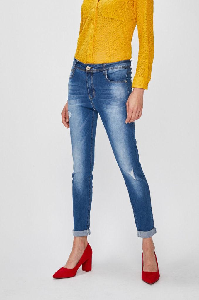 Jeansi albastri marca Answear Falling In Autumn originali cu fason potrivit cu talia regulara