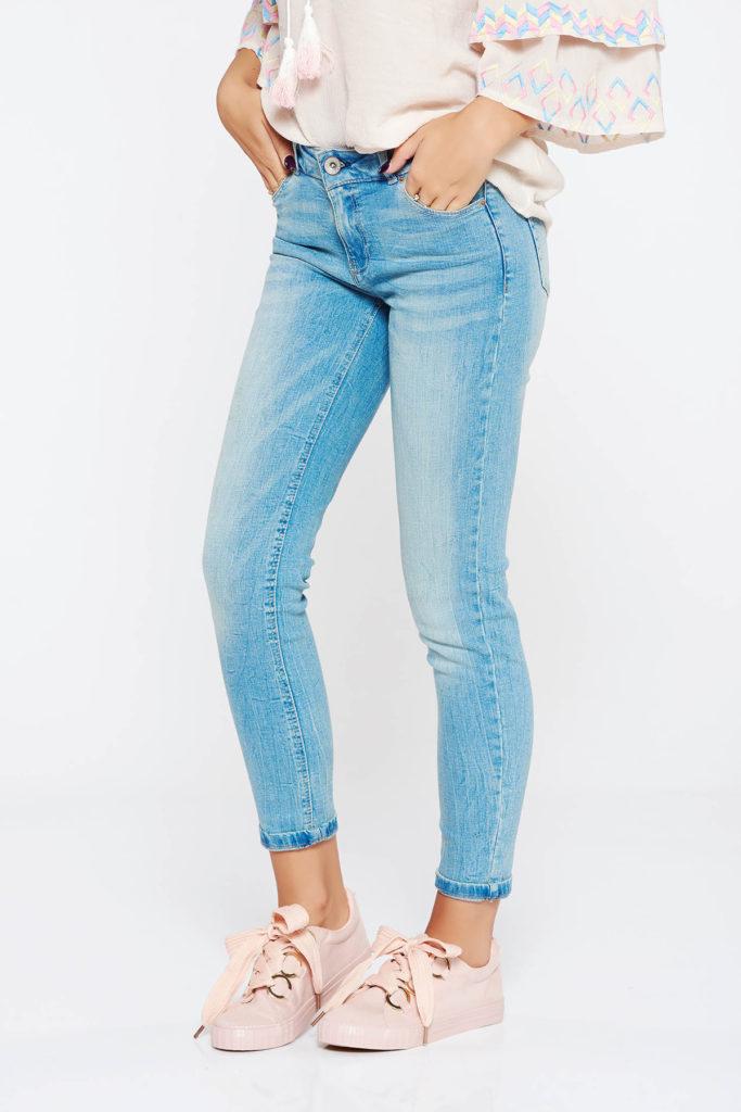 Blugi skinny albastri casual cu talie medie din bumbac din denim moale usor elastic
