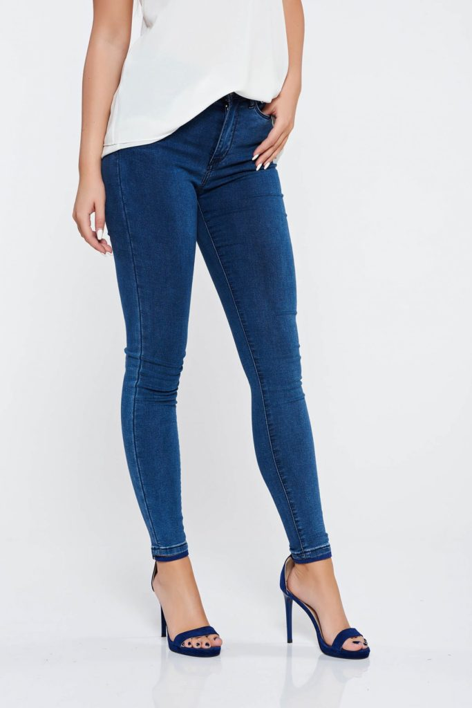 Blugi moderni și practici skinny albastru inchis casual de dama din bumbac din denim calitativ cu buzunare in fata si in spate