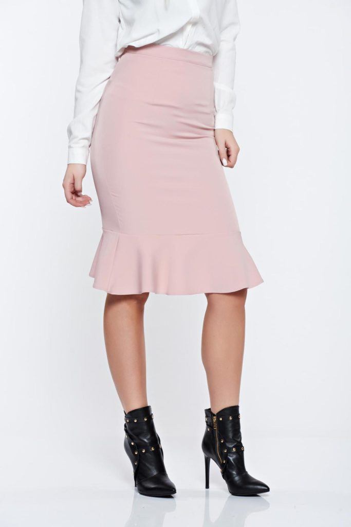 Fusta roz eleganta office din stofa elastica accesorizata cu volan la tiv StarShinerS