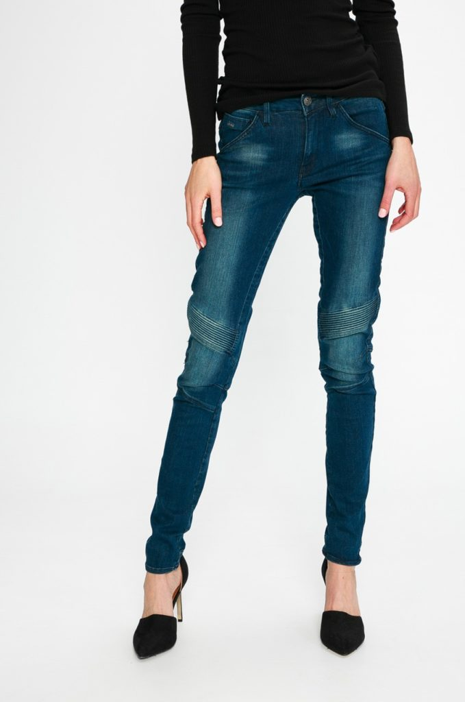 Blugi originali bleumarin marca G-Star Raw cu fason skinny din denim cu aspect spalacit si Cusaturi decorative