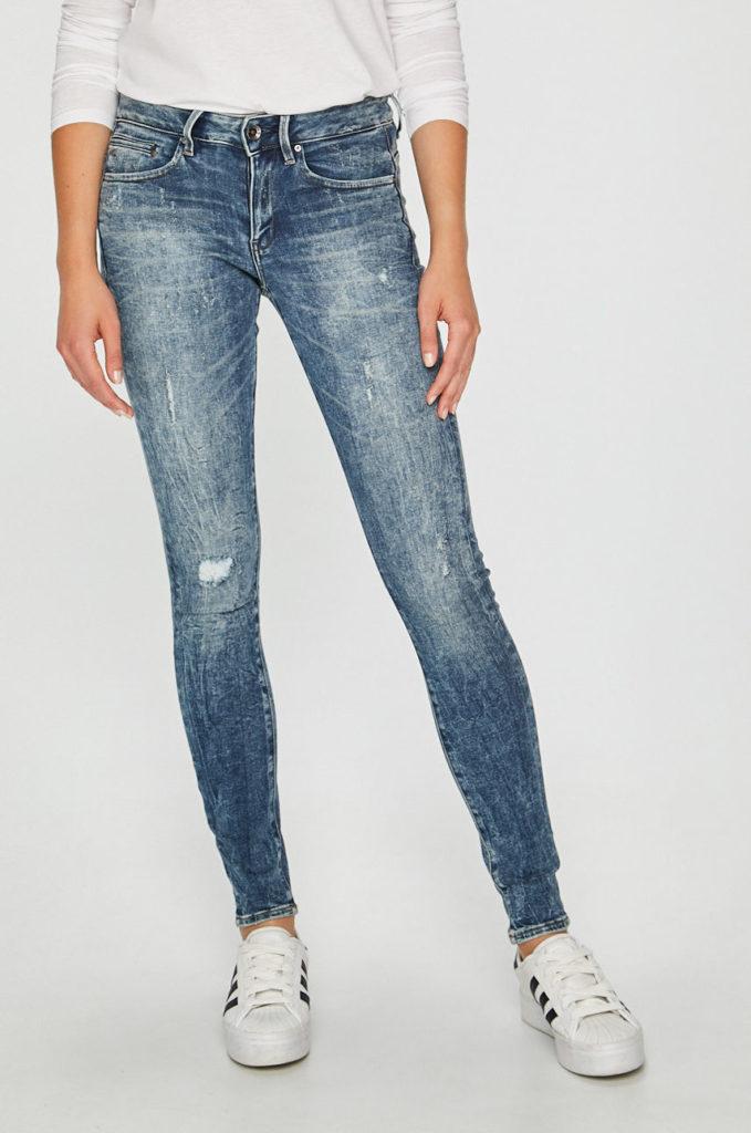 Jeansi originali G-Star Raw albastri casual cu croiala skinny si talia joasa din denim decolorat si detalii decorative