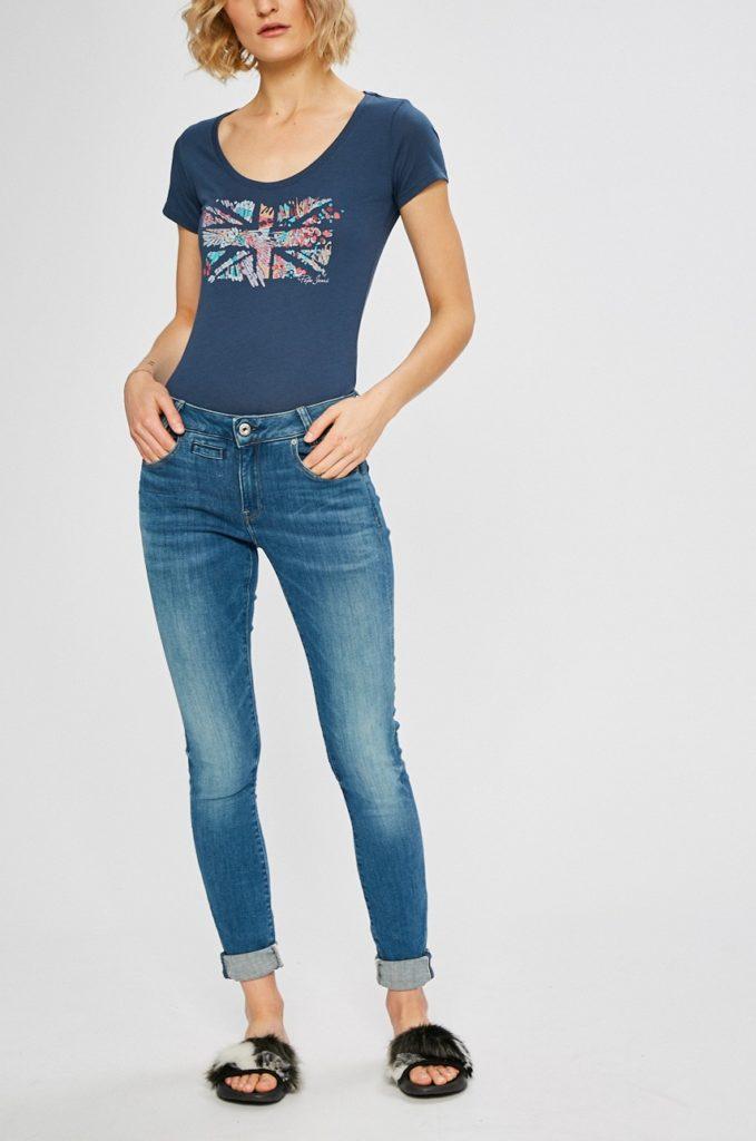 Blugi albastri skinny originali G-Star Raw pentru femei din denim elastic si aspect spalacit