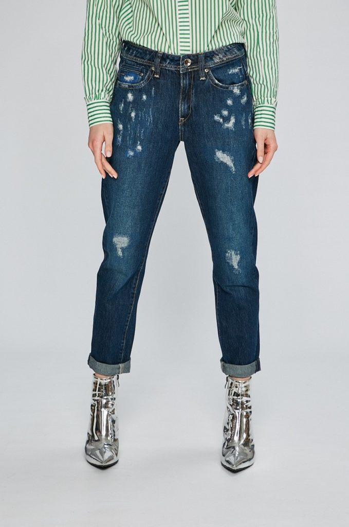 Blugi albastri boyfriend originali G-Star Raw pentru femei, din denim de bumbac, usor elastic cu abraziuni decorative