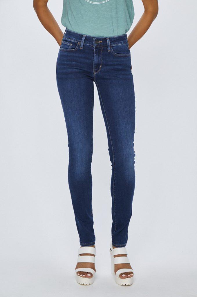 Blugi dama albastri originali Levi's Jeansi 711 de firma cu fason skinny