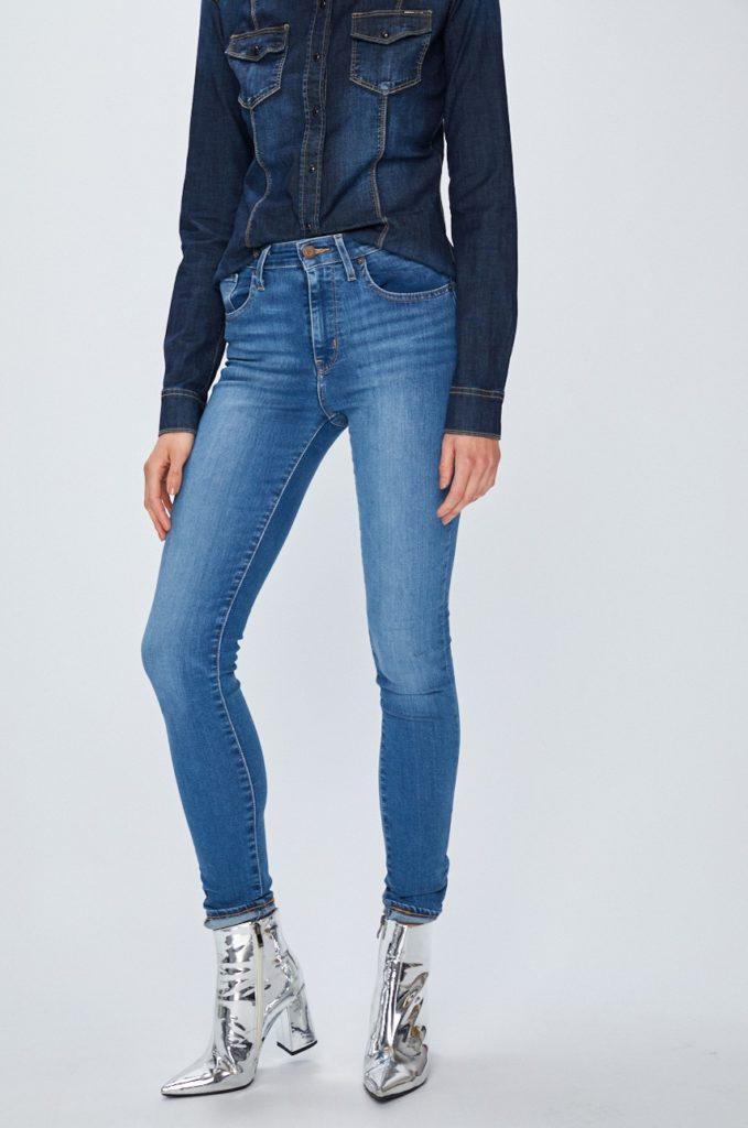 Blugi skinny albastri dama originali Levi's Jeansi 721 de firma din material de blug cu efect spalacit