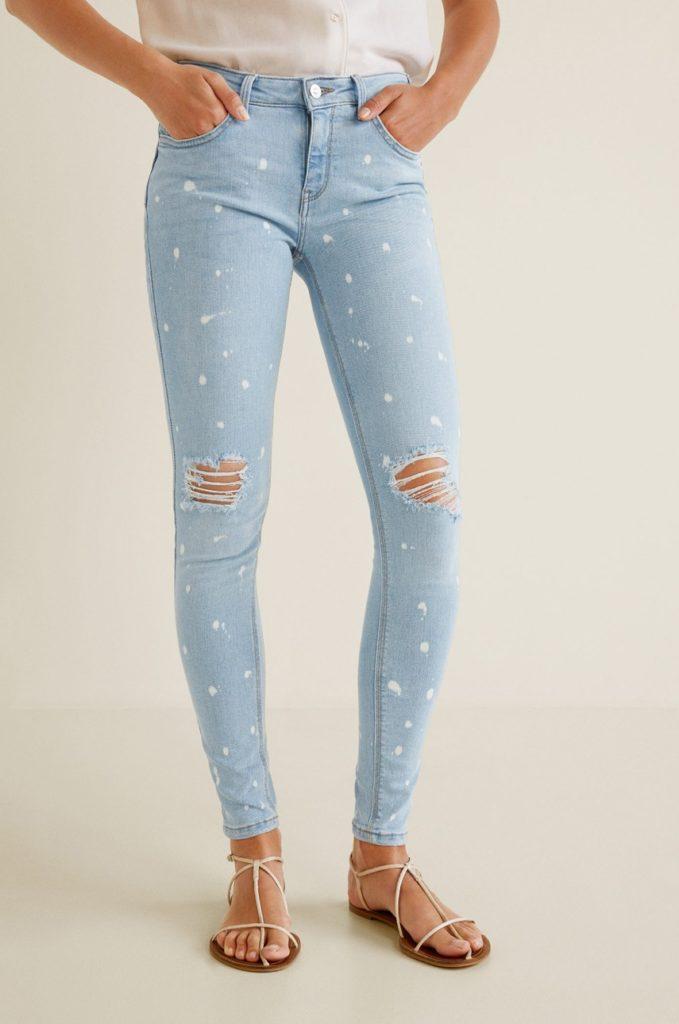 Jeansi albastru deschis cu push-up Kimpaint din colectia Mango cu fason skinny din denim decolorat
