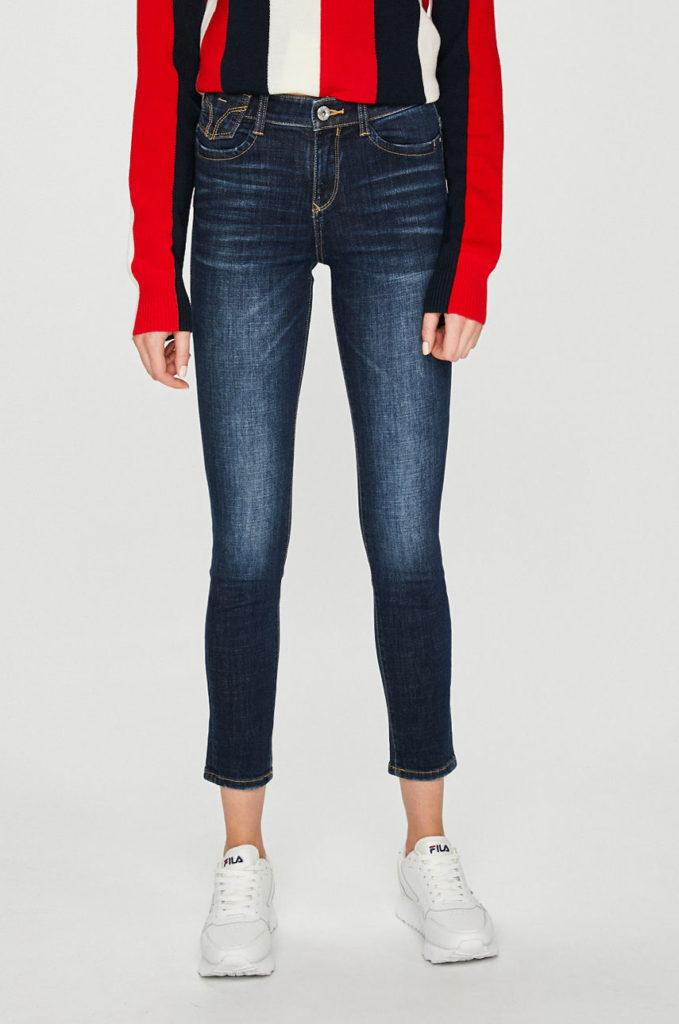 Jeansi albastri skinny dama originali din colectia Miss Sixty din denim cu o usoara tenta abrazata
