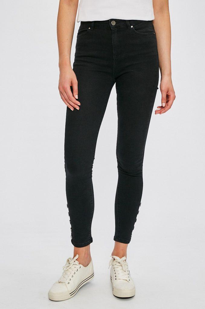 Jeansi negri skinny originali Morgan cu fason slim din material elastic cu detalii decorative