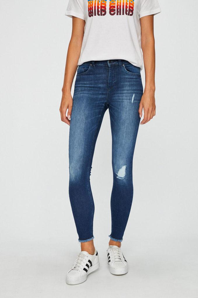 Blugi bleumarin de dama skinny ieftini marca Only din denim elastic cu Abraziuni si Uzuri decorative