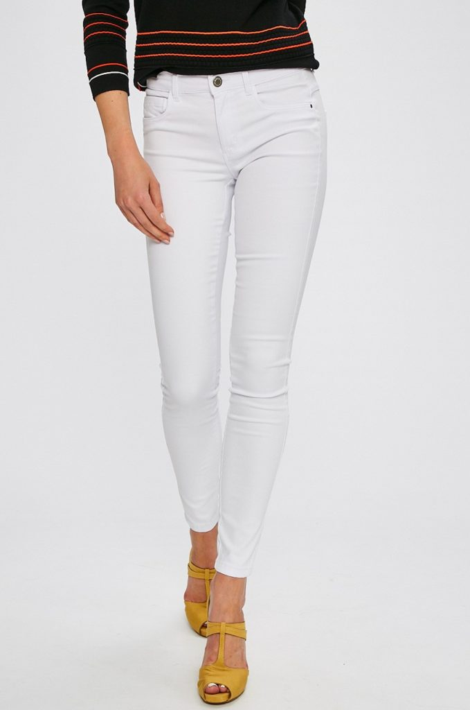 Blugi albi skinny dama ieftini marca Only din denim ceruit si Imitatie de buzunar